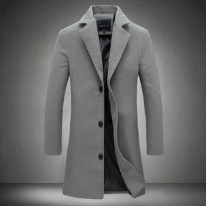 Image 2 - 2020 Winter New Fashion Men Solid Color Single Breasted Long Trench Coat / Men Casual Slim Long Woolen Cloth Coat Large Size 5XL