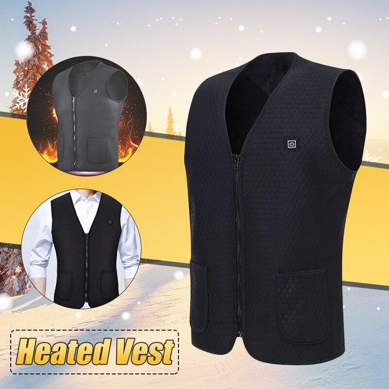 New 2018 Upgraded Men Outdoor USB Infrared Heating Vest Jacket Winter Carbon Fiber Electric Thermal Clothing WaistcoatWarm цена в Москве и Питере