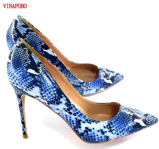 US $34.99 40% OFF| : Buy 2019 Vinapobo Top Quality Women Pumps Blue Mix Color Pointed Toe High Heels Snake Print Stiletto Heel Height