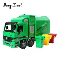 1:22 Scale Die Cast Pull Back Sanitation Garbage Truck Model Kids Children Boys Vehicle Toy Birthday Christmas Gift Large Size