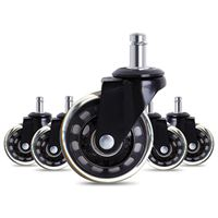 5 PCs Black Office Chair Caster Wheels 2.5 Inch Swivel Rubber Caster Wheels Replacement Soft Safe Rollers Furniture Hardware