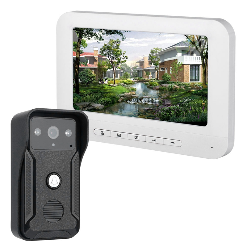 Mountainone 7-Inch Display Cable Video Phone Doorbell Infrared Rainband European Standard Plug Intercom System White Abs+ Alum