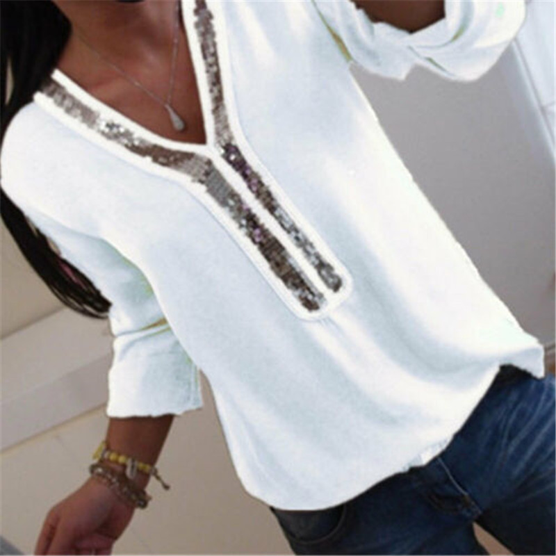 Plus Size Women V-neck Long Sleeve Chiffon Shirt Casual Loose Sequin Top Sequined 2019 Summer Fashion Ladies Blouse Blusa