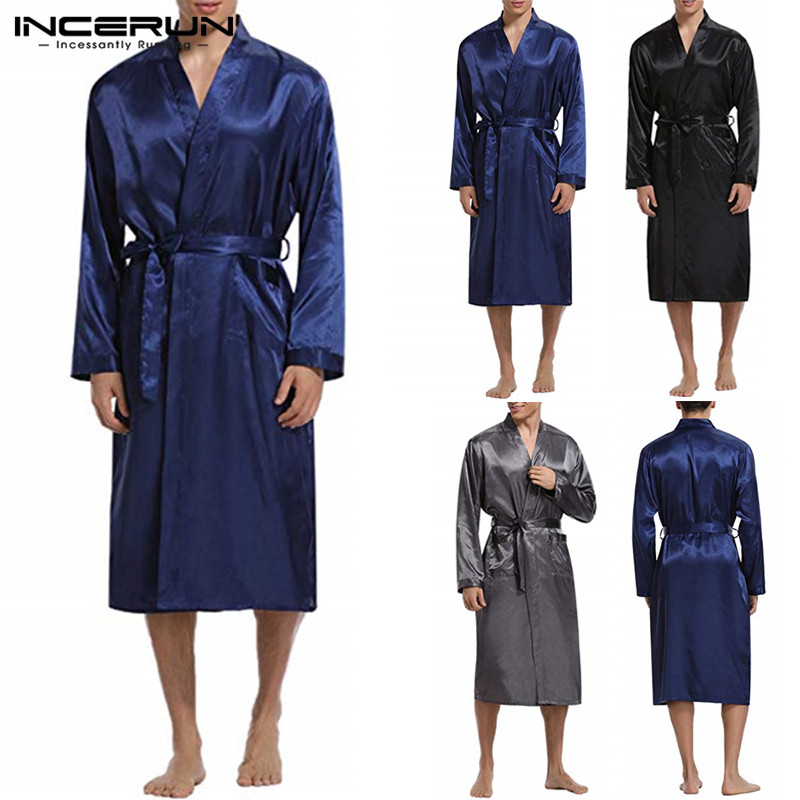 INCERUN Mens Silk Satin Sleepwear Robes Long Sleeve Solid Kimono Male Bathrobe Leisure Men Pajamas Dressing Gown Loungewear 2020