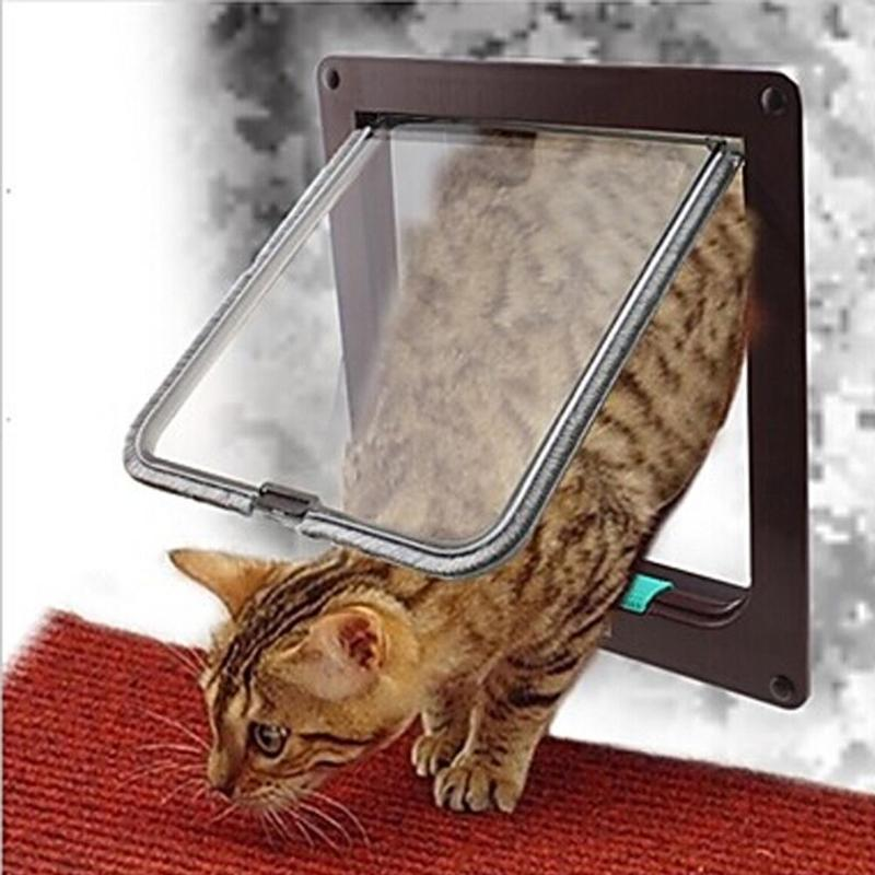 Pet Door Controllable Access Openings Cat Dog Door Window 4 Way Lockable Security Flap Door Plastic Cave Pet Cages Kit