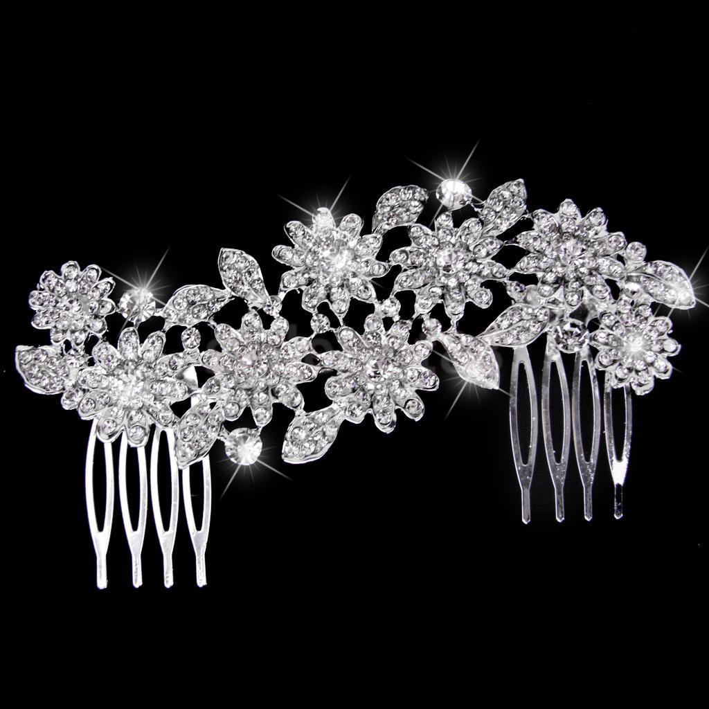 Bridal Wedding Crystal Flower Rhinestone Hair Comb Hair Accessories