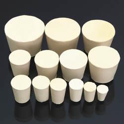 Лабораторные резиновые пробки колбы конические трубки твердые белые щелочи-сопротивление лаборатории Push-In уплотняющая пробка