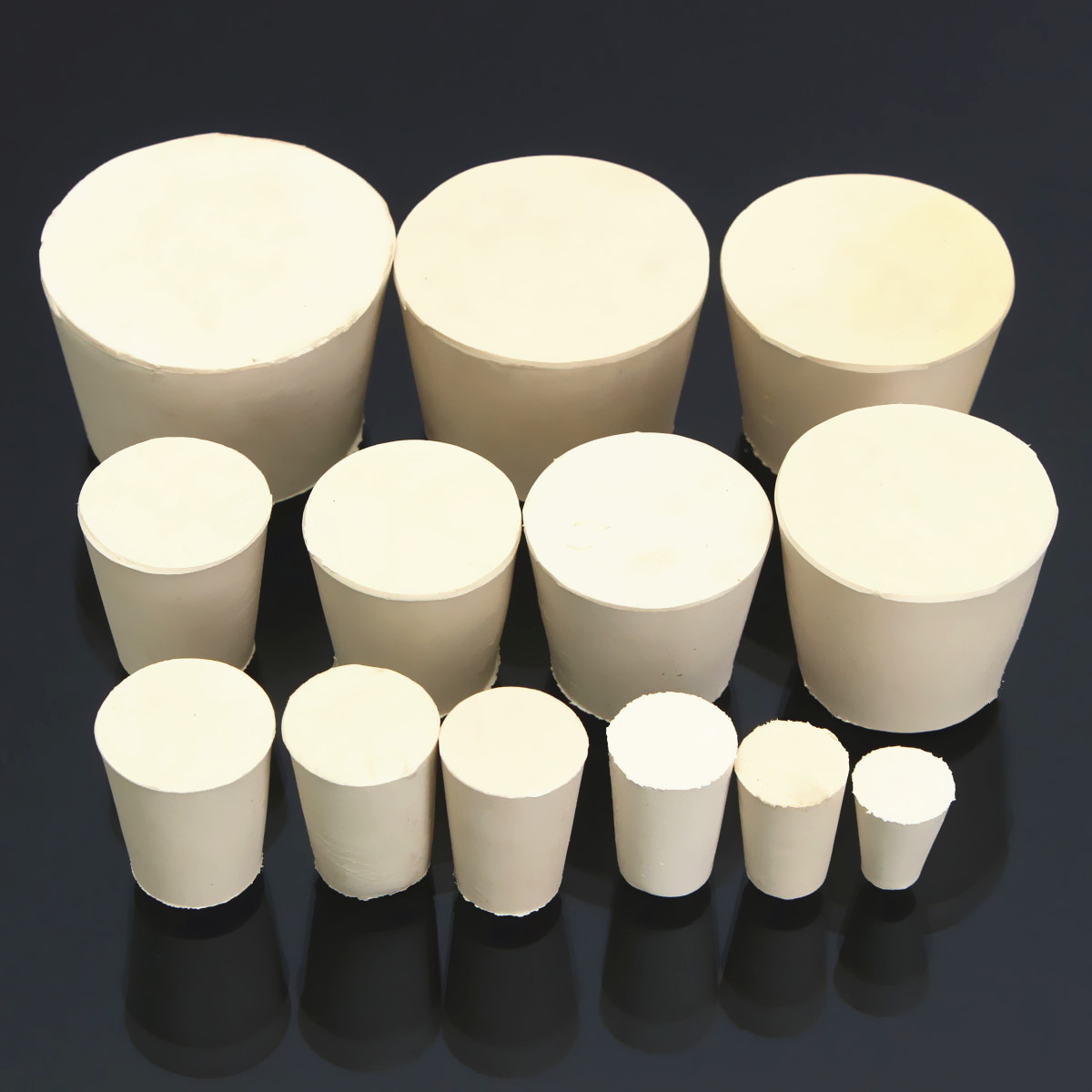 Laboratory Rubber Plug Bungs Flask Tapered Tube Solid White Alkali-resisting Lab Push-In Sealing Plug(China)