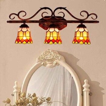Avrupa tarzı üç kafa Tiffany renk cam bar restoran koridor Art Deco Duvar lambası Yatak Odası banyo aynası ön lamba