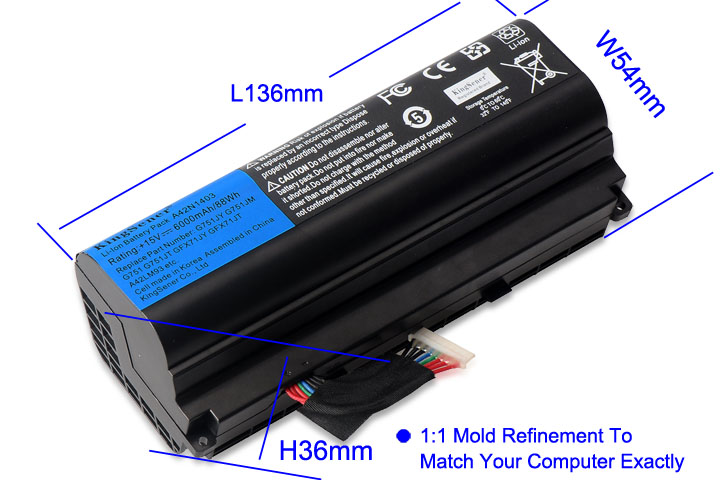 KingSener Corée Cellulaire A42N1403 Batterie D'ordinateur Portable pour ASUS ROG G751 G751JY G751JM G751JT GFX71JY GFX71JT A42LM9H A42LM93 4ICR19/66 -2 - 3