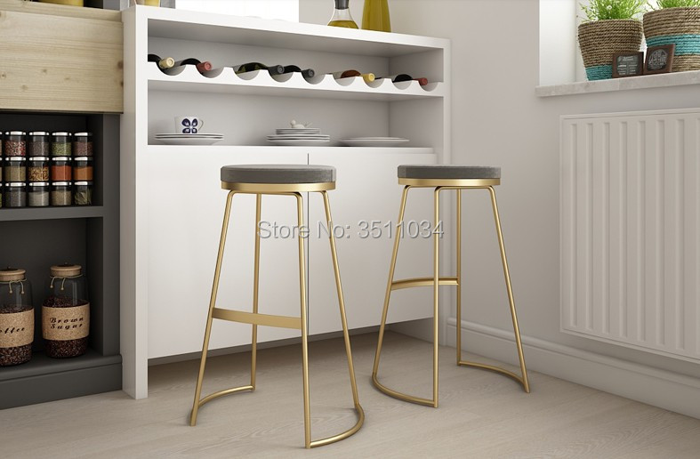 Brand New Nordic bar stool 45cm//65cm/75cm bar chair creative coffee chair gold high stool simple dining chair wrought iron цены онлайн