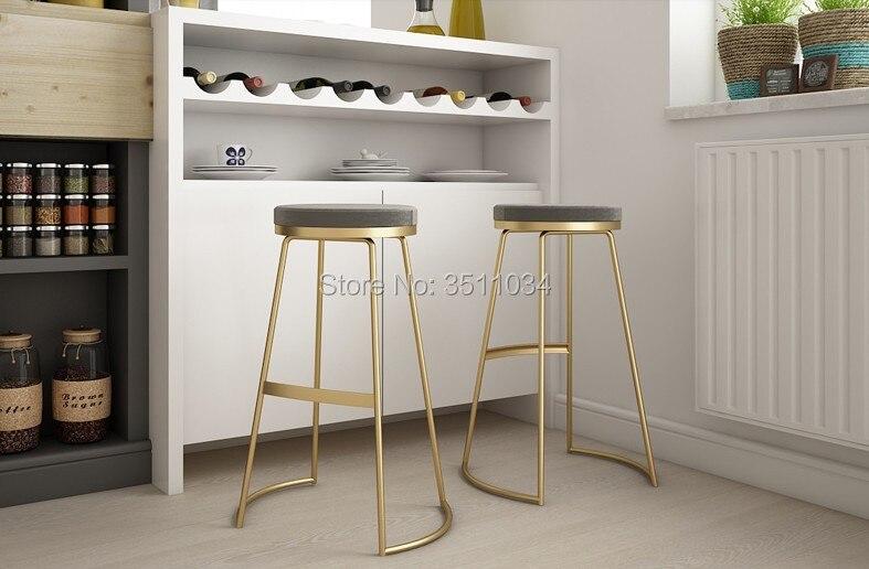 Tout nouveau tabouret de bar nordique 45 cm//65 cm/75 cm chaise de bar chaise de café créative or tabouret haut simple dinant la chaise en fer forgé
