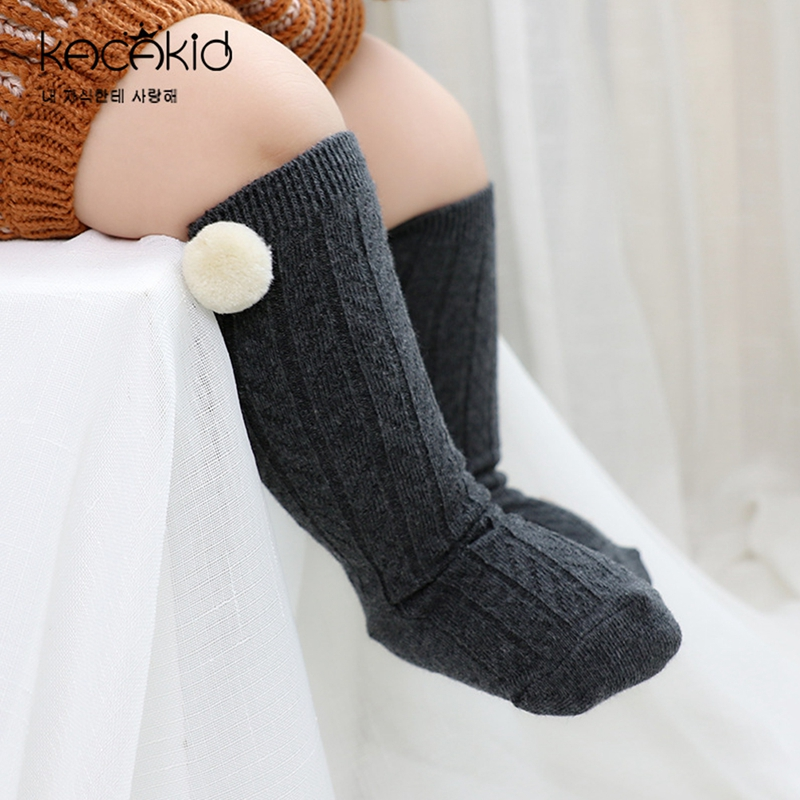 Baby Pom Pom Socks Girls Boys Knee High Spanish Style Black Dark Gray Light Gray Socks
