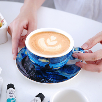 La noche estrellada de la serie de Van Gogh arte aceite pintura capuchino Taza de café con leche bandeja Espresso Taza de Taza Para café tazas