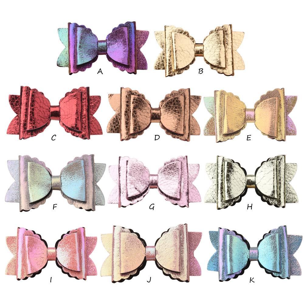 120PCS Double Teeth Bow Glitter Leather Hair Bows Fashion Barrette Cute Hair Accessories Boutique Bows Accessory