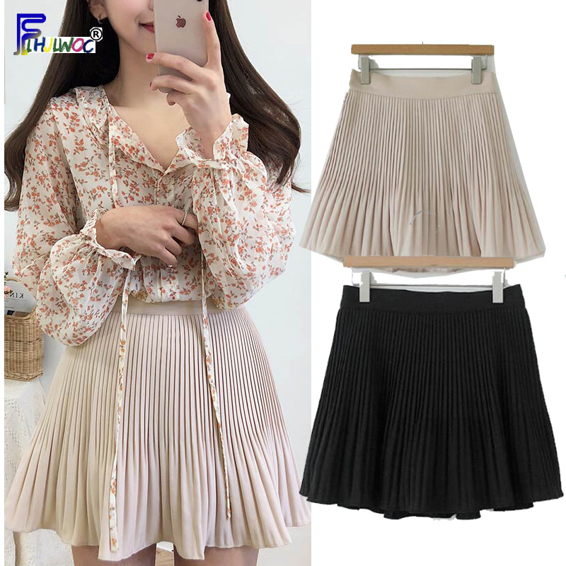 Summer Mini Skirts Women Fashion Preppy Style Girls Cute Sweet A Line Skirt Black White Elastic Waist High Pleated Mini Skirt