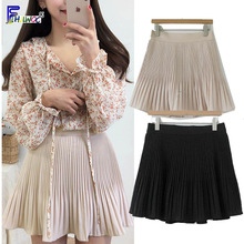 A-Line Skirt Black White Preppy-Style High-Pleated Summer Cute Elastic-Waist Girls Sweet