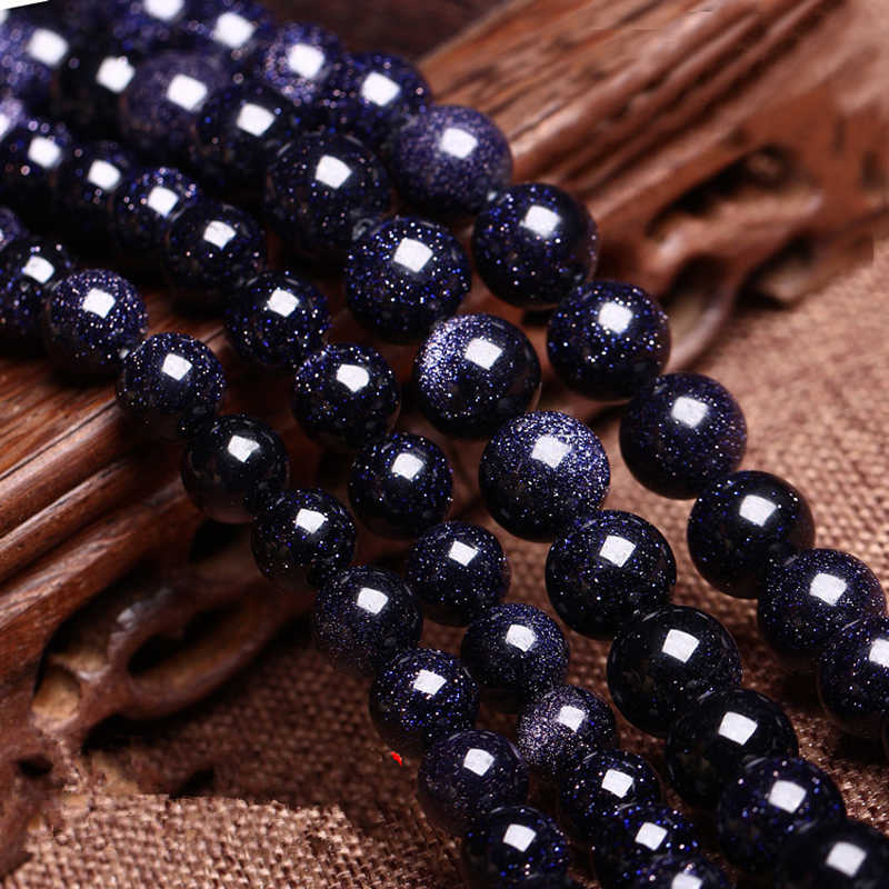 LNRRABC Hot Spacer Loose Beads Natural Blue Stone Round 4 6 8 10 12mm For Necklace Bracelet Wholesale DIY Jewelry Making