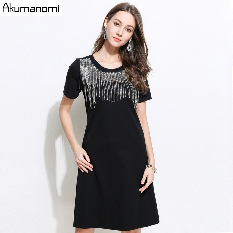 Summer Dress 2019 New Black Above Knee Diamonds Sequined Beading Plus Size Bodycon Women s Dresses