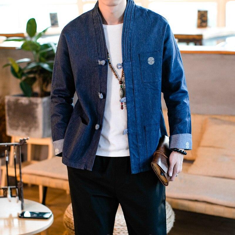 #4220 Denim veste hommes printemps 2019 noir/bleu Kimono manteau grande taille 4XL 5XL Vintage Cardigan coupe-vent veste avec broderie