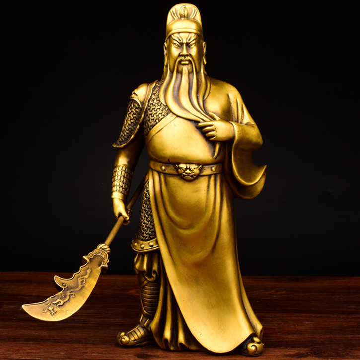 Buddha Statue Sculpture Guangong Copper Ornament Guan Yu Fortuna Wu God of Wealth The Lost Bladesman Figurine Statuette Figure