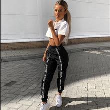 HOUZHOU Harem Pantalones mujeres longitud completa suelto Jogger Mujer deportivos cintura elástica negro Casual contra Streetwear moda