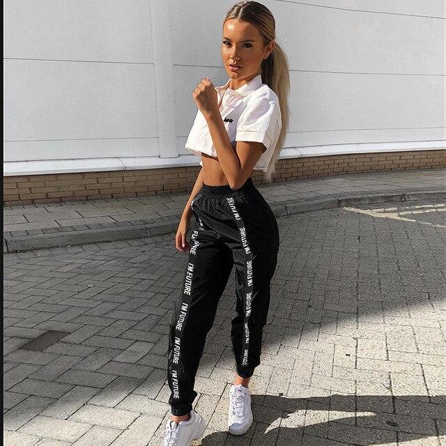 HOUZHOU Harembroek Broek Vrouwen Volledige Lengte Losse Jogger Mujer Sporting Elastische Taille Zwarte Casual Combat Streetwear Mode