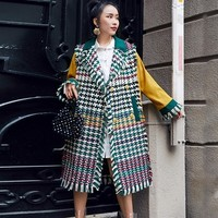 2018 New Arrival Green Plaid Tassel Patchwork Jackets For Women Autumn Fashion Contrast Color Long Type Caot E044