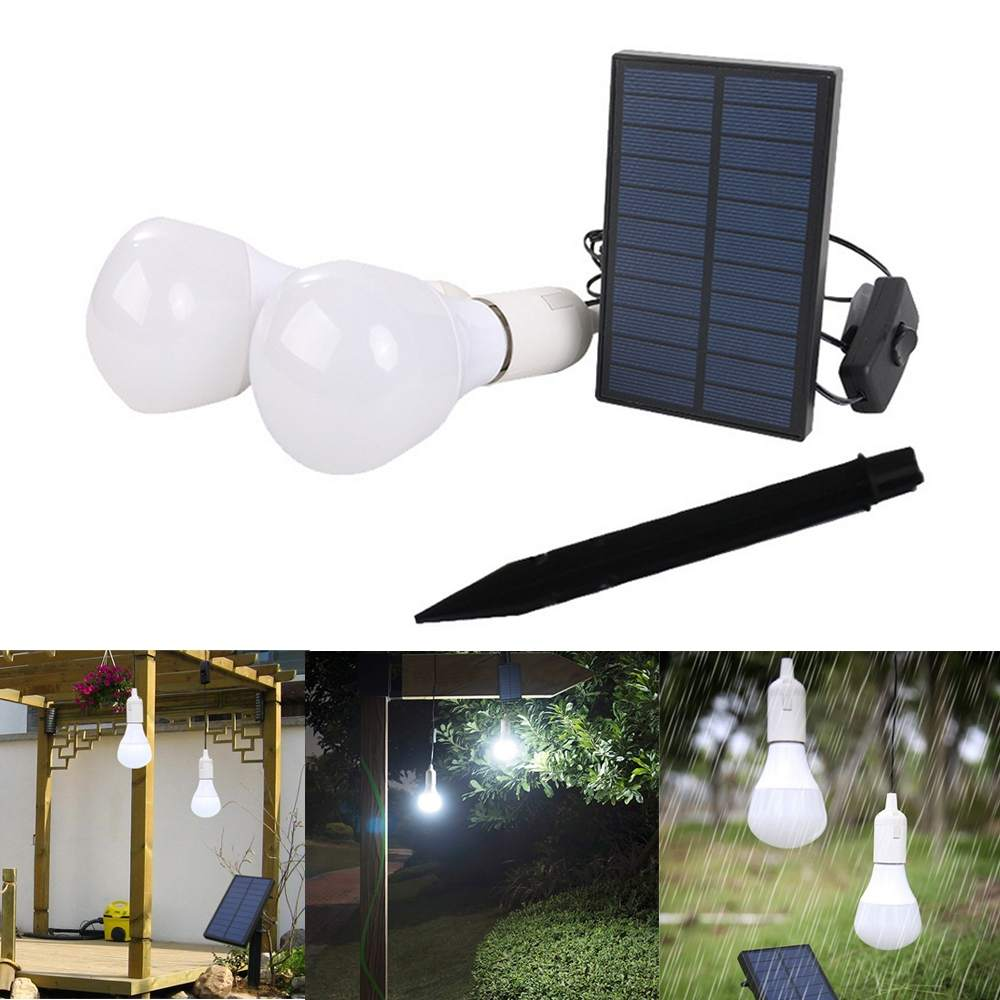 2pcs Solar Panel Led Bulbs Kit For