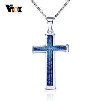 b48c2056eef6 Vnox azul Cruz COLLAR COLGANTE hombres joyería religiosa Biblia Cristo  oración hombre Acero inoxidable cadena