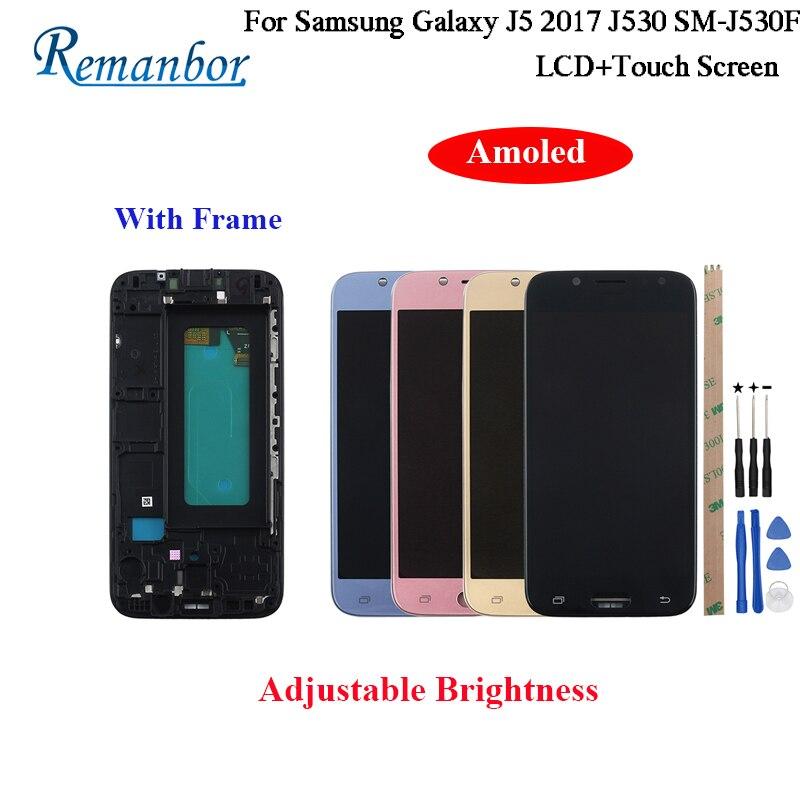 Remanbor AMOED pour Samsung Galaxy J5 2017 J530 écran LCD SM-J530F et écran tactile avec cadre et outils luminosité réglable
