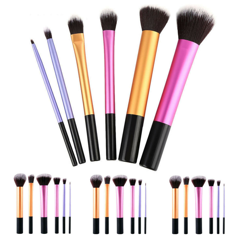 6pcs Pro Makeup Brushes Set Foundation Powder Blush Beauty Cosmetic Brush Tools