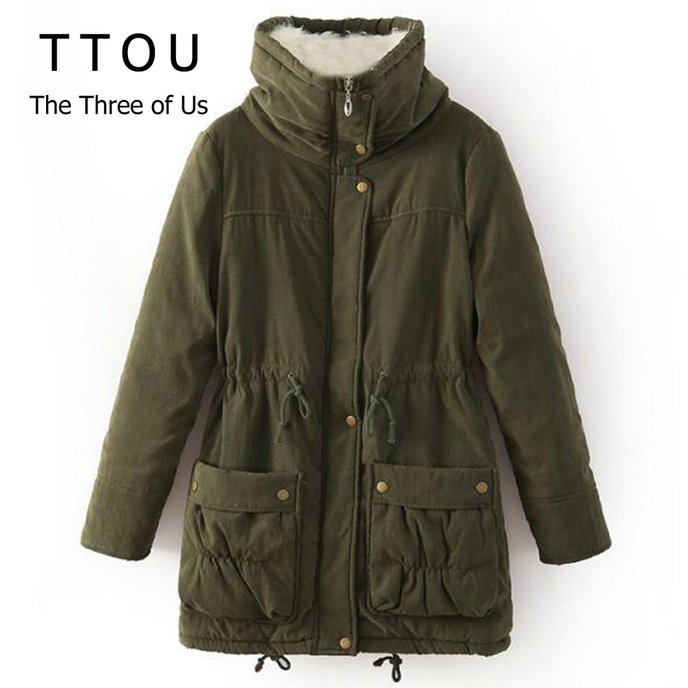 TTOU Casual Thick Cotton Coat Women Hooded Winter Coat Fashion Flannel Woman Denim   Parkas   Adjustable Windbreaker With Hat