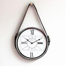 European Creative Belt Wall Clock Silent Living Room Modern Minimalist Nordic Metal Mounted Quartz Decoration 50Q017