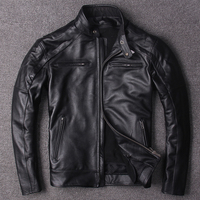 plus Eur size classic men cow leather Jackets men's genuine Leather biker jacketBrand new coat,sales
