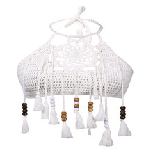 Summer womens off-the-shoulder tassel top casual loose beach cut hand-knitted hollow vest