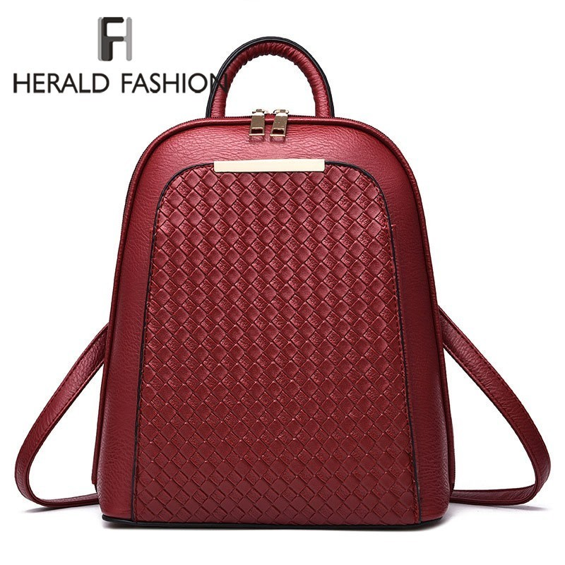 Herald Fashion Luxury Women Backpack New Tide Female Women Laptop Backpacks Large Capacity Pu Leather School Bags Teenager Girls
