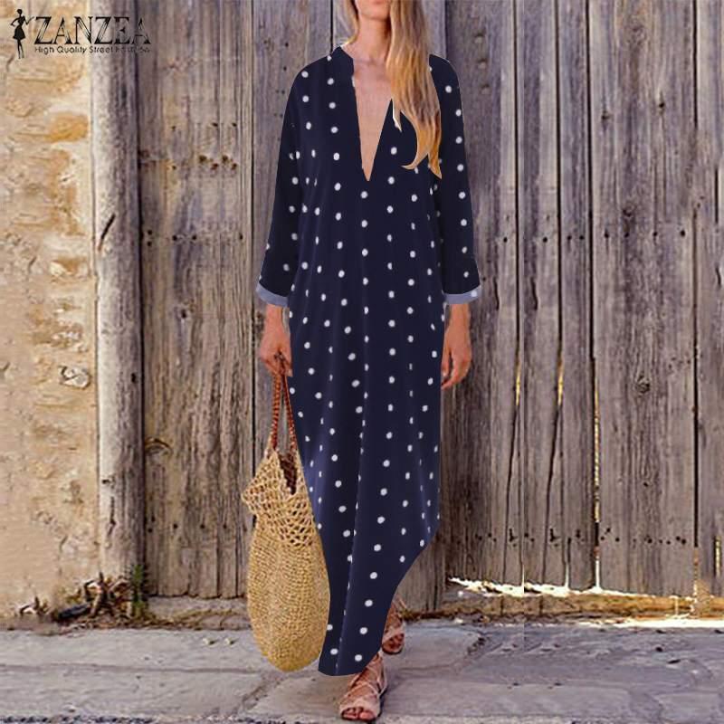 Plus Size Maxi Dress Women's Print Sundress 2019 ZANZEA Polka Dot Summer Vestidos Fashion Sexy V Neck Split Tunic Robe Femme 5XL