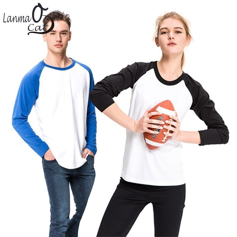 Lanmaocat Patchwork <font><b>Shirt</b></font> For Men Long Sleeve Clothing Men Women <font><b>Blank</b></font> <font><b>T</b></font> <font><b>Shirts</b></font> Cotton <font><b>Shirt</b></font> Plus Size Black <font><b>White</b></font> Free Shipping image