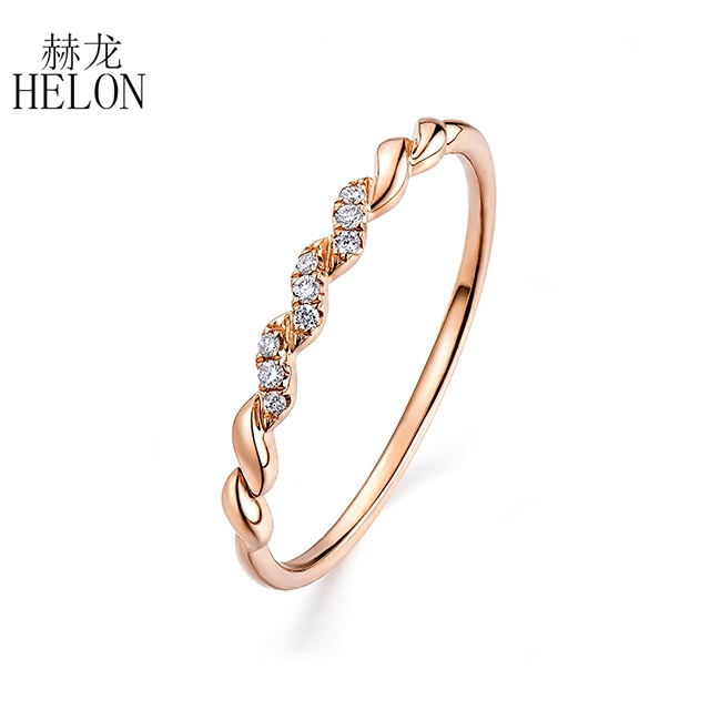 HELON Solid 14K Rose Gold (AU585) Certified H/SI Round 100% Genuine Natural Diamonds Engagement Wedding Women Fine Jewelry Ring