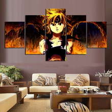 5 Piece The Seven Deadly Sins Anime Poster Meliodas Dragons Sin of Wrath Cartoon Wall Pictures Canvas Art for Kids Room Decor