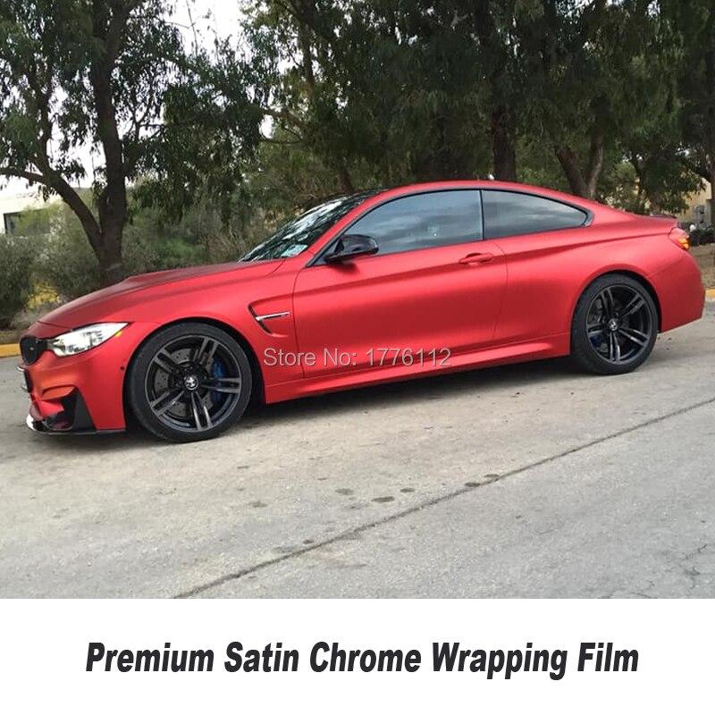 Высококачественная обновленная атласная хромированная виниловая серия Авто Красная атласная хромированная виниловая упаковка несколько ...