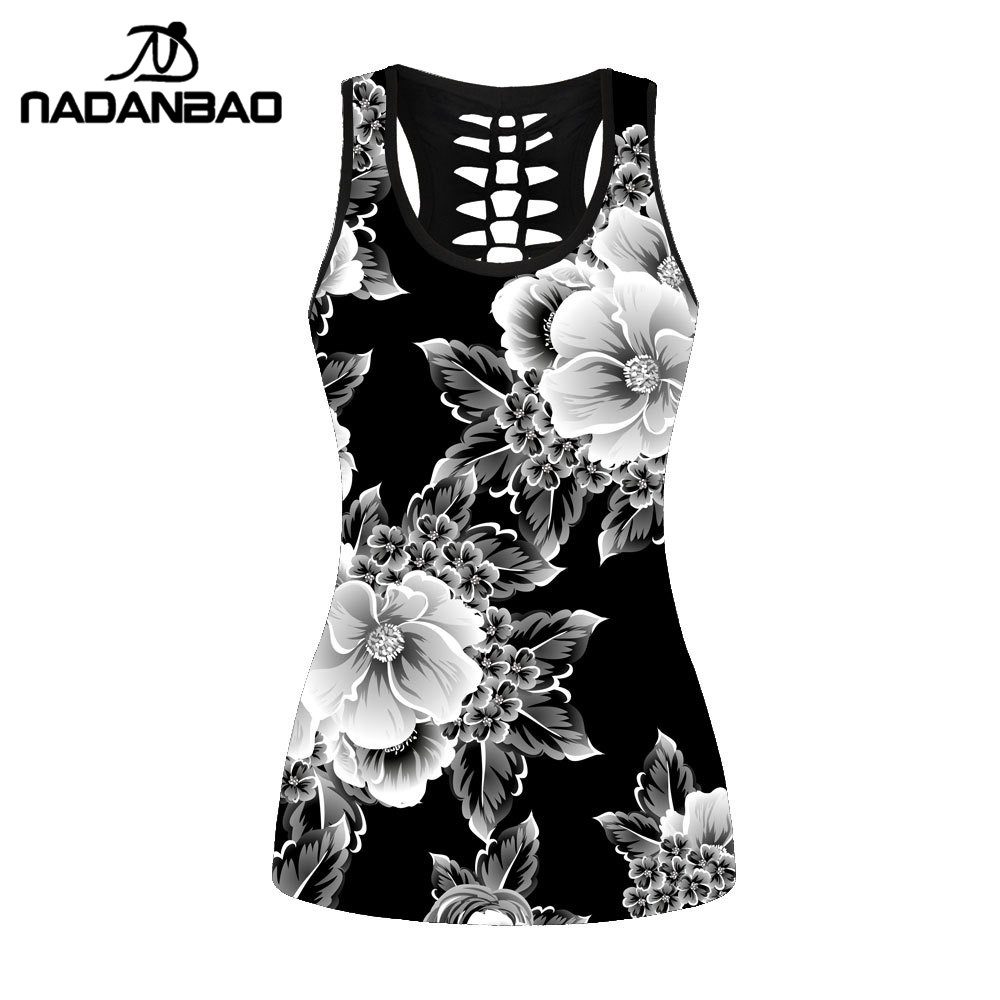 NADANBAO Sexy Hollow Black   Tank     Top   Women Sleeveless   Tops   White Flowers Gothic Fitness Streetwear Vest Cropped