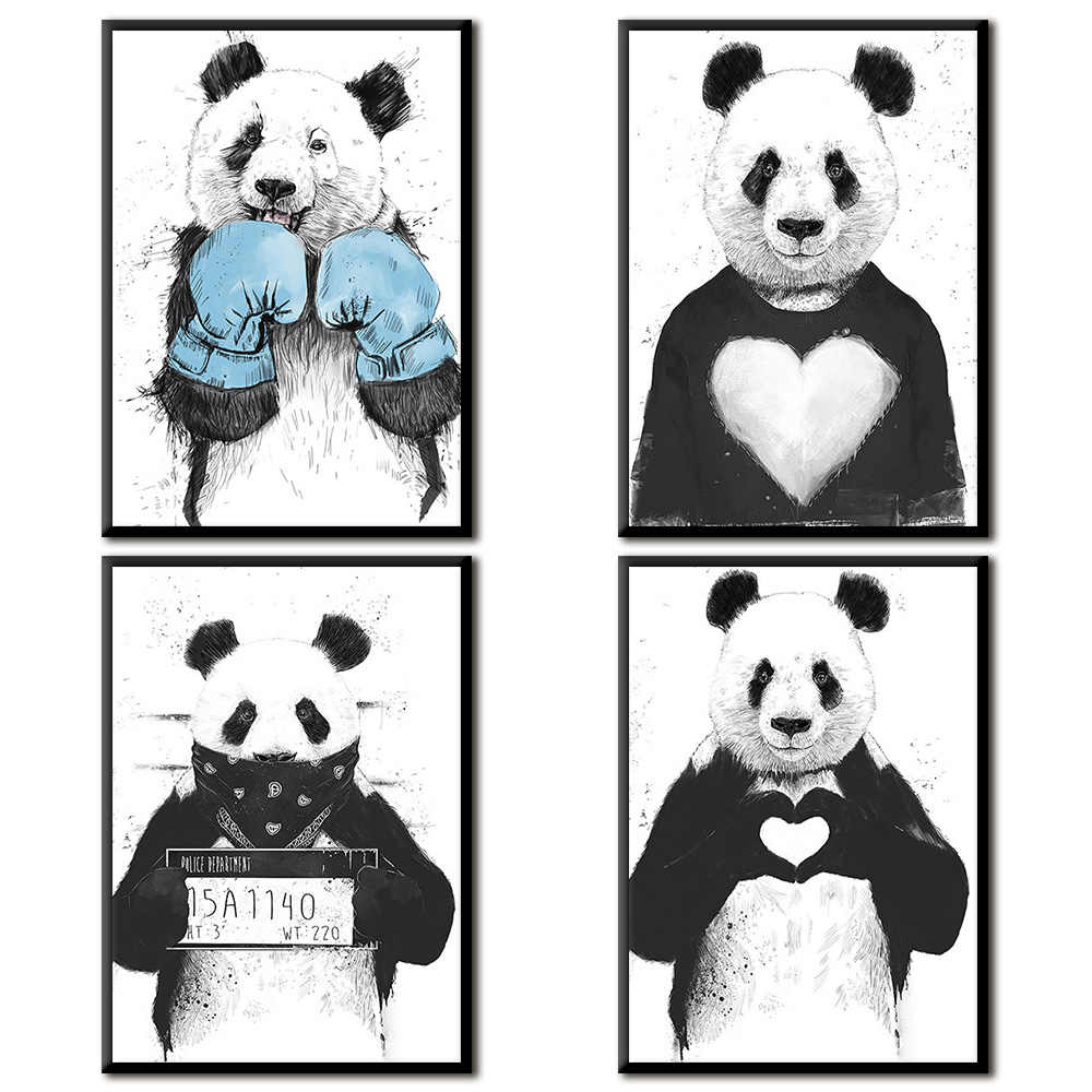 Nordic Poster Cartoon  Panda Fox Wall Art Canvas Painting Posters And Prints Wall Pictures Kids Room Quadro Wall Decor