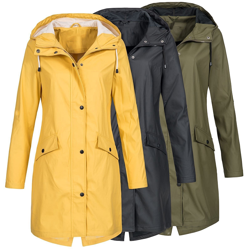 Coat Women Fashion Long Sleeve Hooded Raincoat Windbreaker Hiking Ladies Casual Solid Color Outdoor Waterproof   Trench