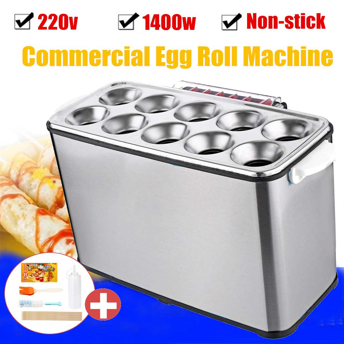 DIY Fabricante de Omelete de Ovo Máquina de Rolo Automático Fogão Elétrico 1400 W 220 V Acessórios de Cozinha Aparelho De Cozinha Comercial