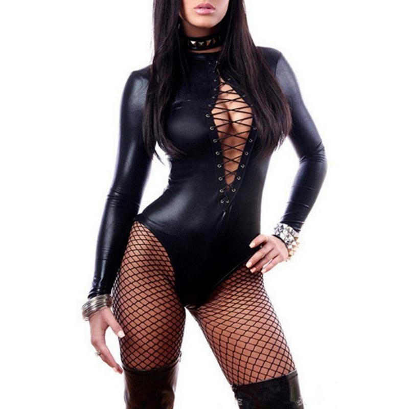 MISS M Wet Look Long Sleeve Bodysuit Sexy Lingerie Leather Steel Tube Dance Clothes Ladies For Night Club Party
