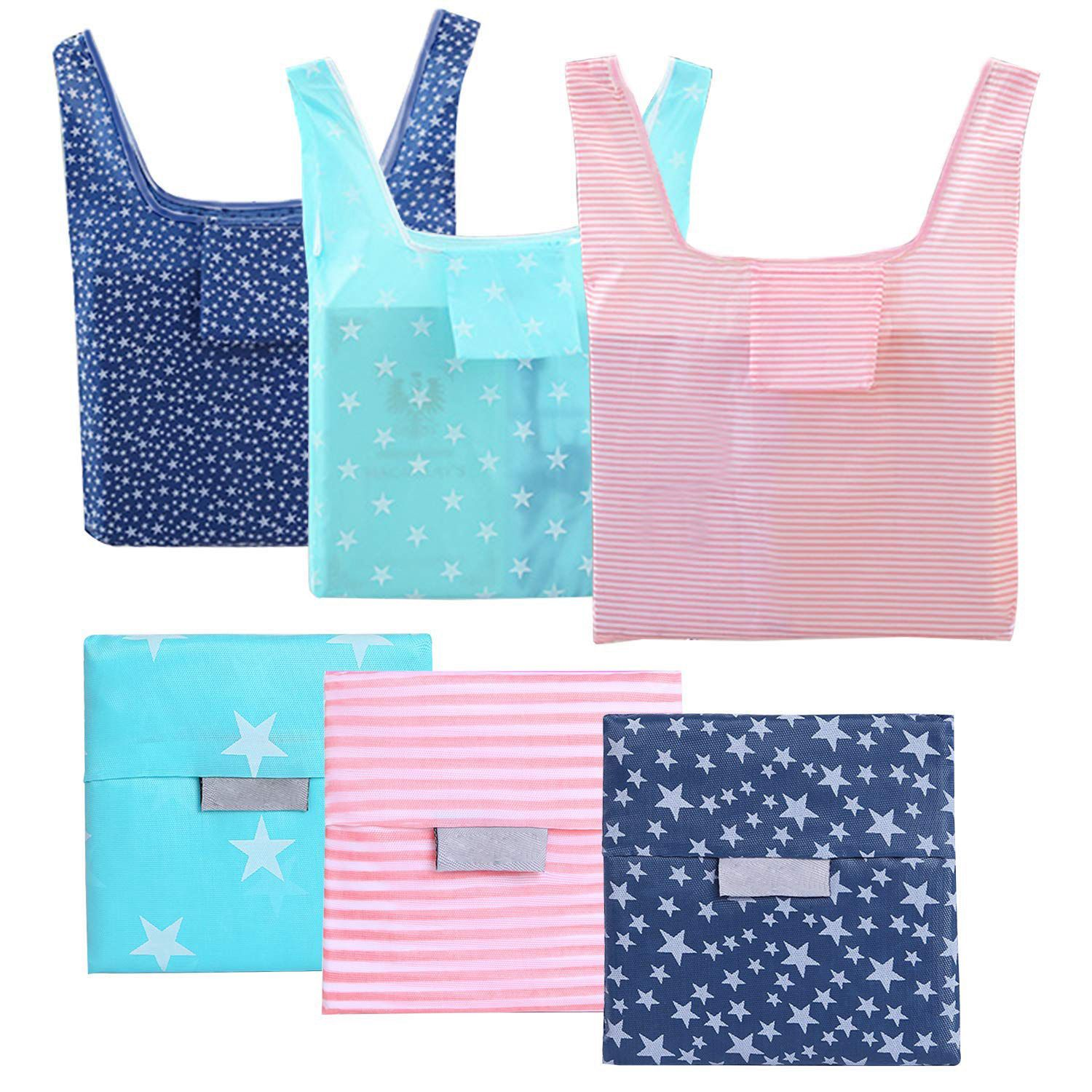 TFTP-6 Pack Reusable Grocery Bags, Foldable Eco-Friendly Shopping Tote,Washable,Waterproof,Durable And Lightweight