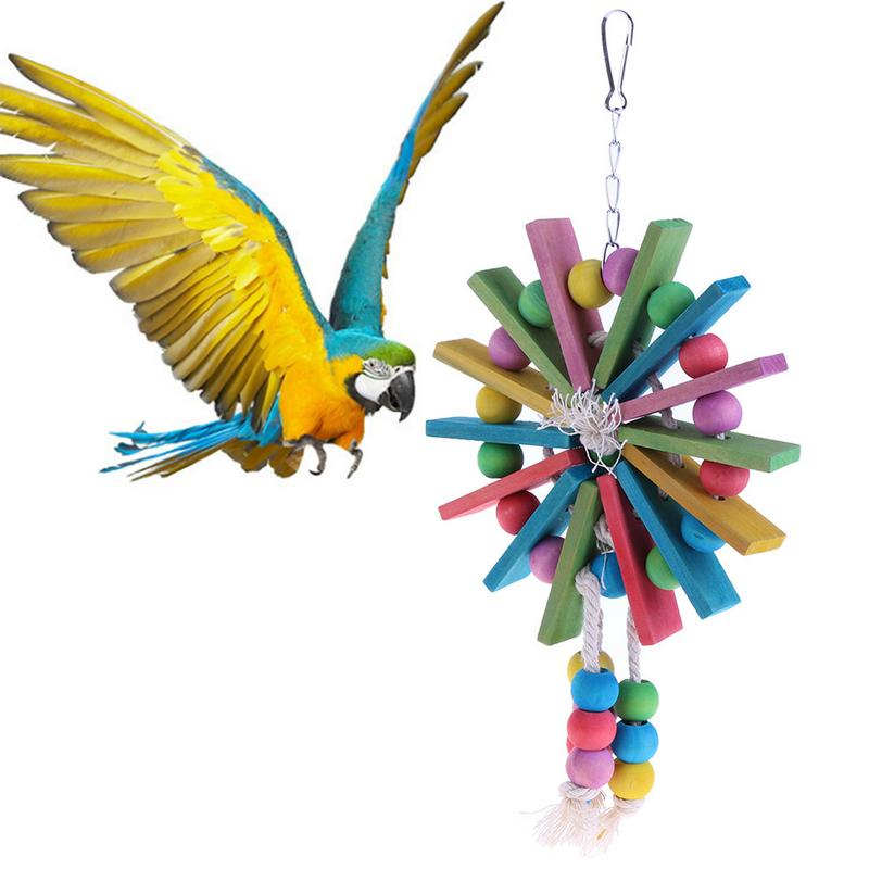 Parrot Bite Toys Colorful Pet Bird Bite Toys Wood Cotton Rope Cage Chew Bird Climbing Swing Training Toy Pet Birds Supplies Bird Supplies