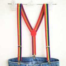 a31c268832c Unisex Rainbow Striped Suspenders Mens Adjustable Clip-on Y-back Suspender  kids pants holder